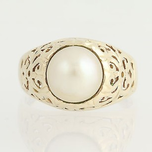 Cultured Pearl Ring - 14k Yellow Gold Womens June Gift 34 -