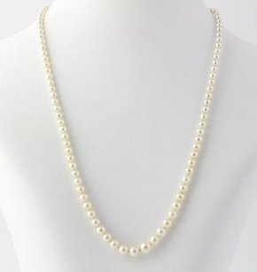 Cultured Pearl Strand Necklace 17 14 - 950 Silver Graduated Fishhook Clasp