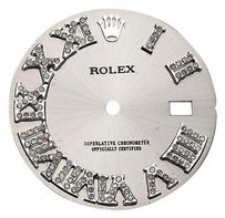 Other Custom Pave Set Diamond Silver Dial For Rolex Datejust 36mm Watch 0.75 Ct