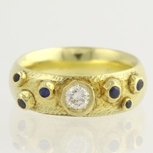 Custom Sapphire Diamond Band - 18k Yellow Gold 34 Handmade Ring 0.40ctw