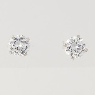 Other Cz Stud Earrings - 14k White Gold Cubic Zirconias Solitaire