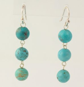 Other Dangle Turquoise Earrings - 925 Sterling Silver Hooks Womens Fine Accessory