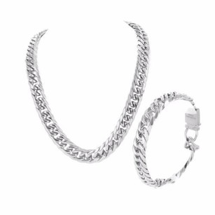 Designer Mens Bracelet And Chain Miami Cuban White Gold Finish Mm