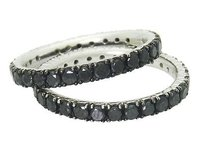 Other Designer Rh 18k White Gold Apx. Tcw Black Diamond Stackable Rings R499
