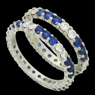Designer W.r.des 18k White Gold Apx. 1.20 Tcw Diamond Blue Sapphire Rings R490