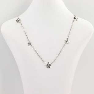 Other Diamond-accented Flower Necklace - Sterling Silver 18k Yellow Gold .10ctw