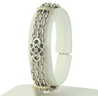 Diamond-accented Love Knot Bracelet- Sterling Silver 18k Yellow Gold .02ct