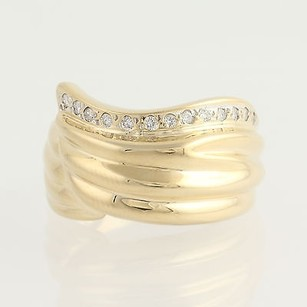 Diamond-accented Ring - 14k Yellow White Gold Wrap Design Womens .13ctw