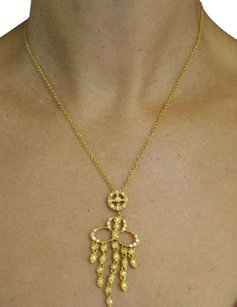 Other Diamond Chandelier Pendant Necklace in Solid 18k Yellow Gold, 16in
