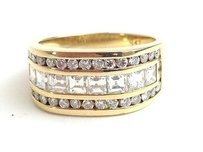 Diamond Channel Set Ring W Diamonds 1.58 Carat T.w. 18k Yellow Go Max038229