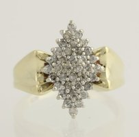 Diamond Cluster Cocktail Ring - 10k Yellow White Gold 34 Genuine .50ctw
