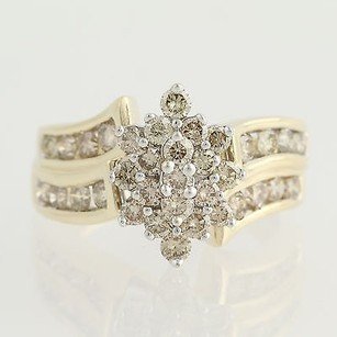 Other Diamond Cluster Cocktail Ring - 10k Yellow White Gold Bypass Fine 2.00ctw