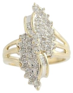 Diamond Cocktail Bypass Ring - 10k Yellow White Gold .33ctw