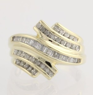 Diamond Cocktail Bypass Ring - 10k Yellow White Gold 34 - Genuine .33ctw