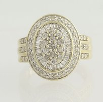 Diamond Cocktail Ring - 10k Yellow White Gold Cluster 1.00ctw