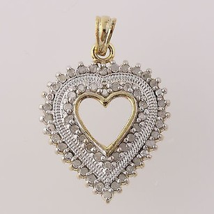 Diamond Heart Pendant - Sterling Silver Gold Plated Love Gift Genuine .25ctw