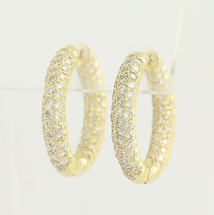 Other Diamond Hoop Earrings - 18k Yellow Gold Oval Pierced 2.75ctw
