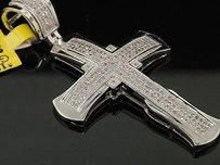 Diamond Pave Cross Pendant Mens 10k White Gold Round Fashion Charm 0.56 Tcw.