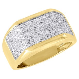 Diamond Pinky Ring 10k Yellow Gold Mens Pave Set Round Cut Wedding Band 0.26 Ct.