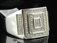 Diamond Pinky Ring Mens 10k White Gold Designer Fashion Pave Band 0.33 Ct.