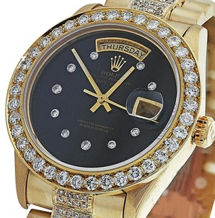 Rolex Diamond Presidential Rolex Day-date Black Diamond Dial Bezel 18k Yellow Gold