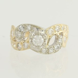 Diamond Ring - 14k Yellow White Gold European Cut Anniversary .73ctw