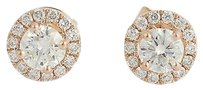 Other Diamond Stud Earrings - 14k Rose Gold Halo Style Pierced Genuine .77ctw