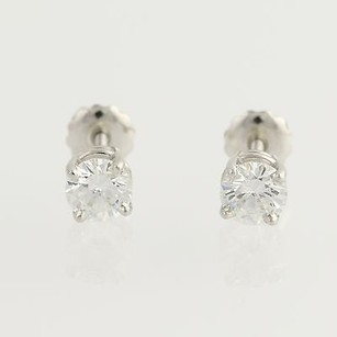 Diamond Stud Earrings - Platinum Timeless Style Pierced Genuine 1.11ctw