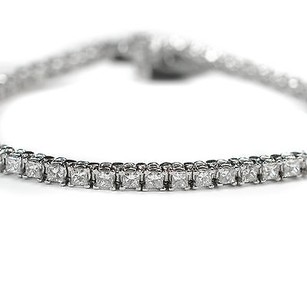 Diamond Tennis Bracelet 5.28 Ct Princess Cut K White Gold 11.8 Grams Womens