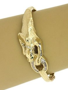 Other Diamonds Emerald 14k Yellow Gold 3d Panther Bangle Bracelet
