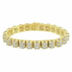 Dome Tennis Link Bracelet Solitaire Simulated Diamond Row 925 Silver Gold Tone