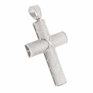 Domed Pipe Style Jesus Latin Cross Lab Diamond Pendant In Gold Finished Silver