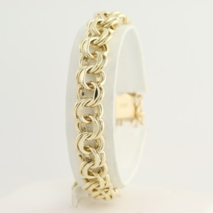 Double Curb Chain Bracelet 7 14k Yellow Gold Womens Starter Charm Slide Clasp