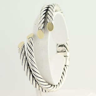 Other Double Rope Cuff Bracelet 34 - Sterling Silver 18k Yellow Gold Polished