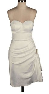 Ivory Ivory Strapless Bunched Side Bow Satin Size:2xl Dress