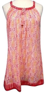 Other short dress Ivory Oscar De La Renta For Neiman Marcus Pink Orange Batik Sma 9454 on Tradesy