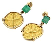 Estate 14k Yg Emerald Dangle Earrings W 22k Yellow Gold Ancient Coins