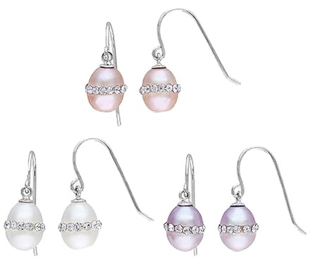 Other Sterling Silver 7-8 Mm White Pink Purple Freshwater Rice Pearls Earrings Set
