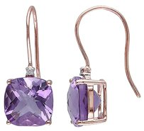 10k Pink Gold Diamond And 7 Ct Tgw Amethyst Shepard Hook Earrings Gh I2i3