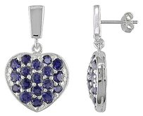 Other Sterling Silver 4 110 Ct Tgw Iolite Gemstone Dangle Heart Love Earrings