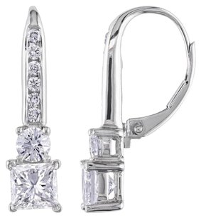 Other 18k White Gold Diamond Stud Leverback Earrings 2 Cttw Tdw G-h I1