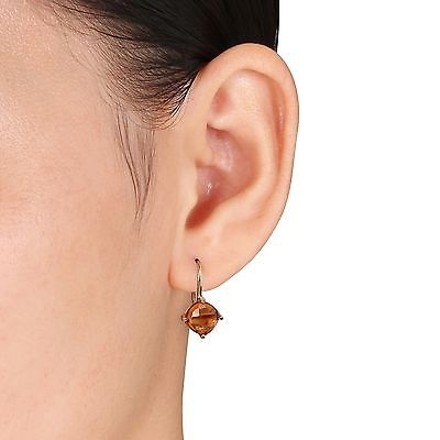 Other Yellow Gold Flashed Silver Citrine Stud Leverback Drop Earrings 4 Ct Tgw
