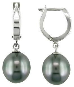 14k White Gold 9-9.5mm Tahitian Cultured Pearl Huggie Earrings