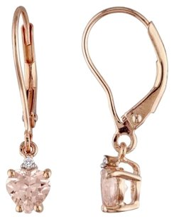 Other Rose Gold Flashed Silver Morganite Diamond Heart Love Earrings 1.02 Ct G-h I2-i3