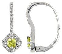 Other 14k White Gold Yellow And White Diamond Stud Earrings 0.5 Cttw G-h I1-i2