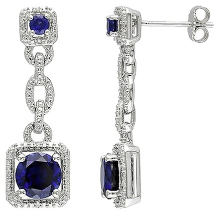 Other Sterling Silver Diamond Blue Sapphire Dropdangle Earrings 3.55 Ct H-i I2-i3
