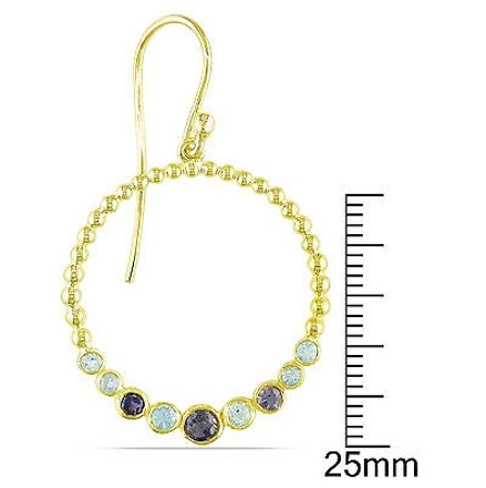 Other Yellow Silver 1 14 Ct Tgw Sky Blue Topaz And Lolite Dangle Earrings