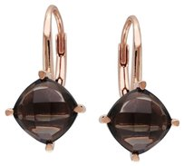 Other Rose Gold Flashed Silver Smokey Quartz Stud Leverback Drop Earrings 4 Ct Tgw
