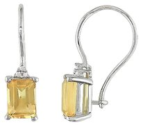 Other Sterling Silver Diamond And 2 14 Ct Tgw Citrine Euro Back Drop Stud Earrings I3