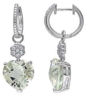 Other Sterling Silver Diamond And 15 16 Ct Green Amethyst Topaz Heart Dangle Earrings